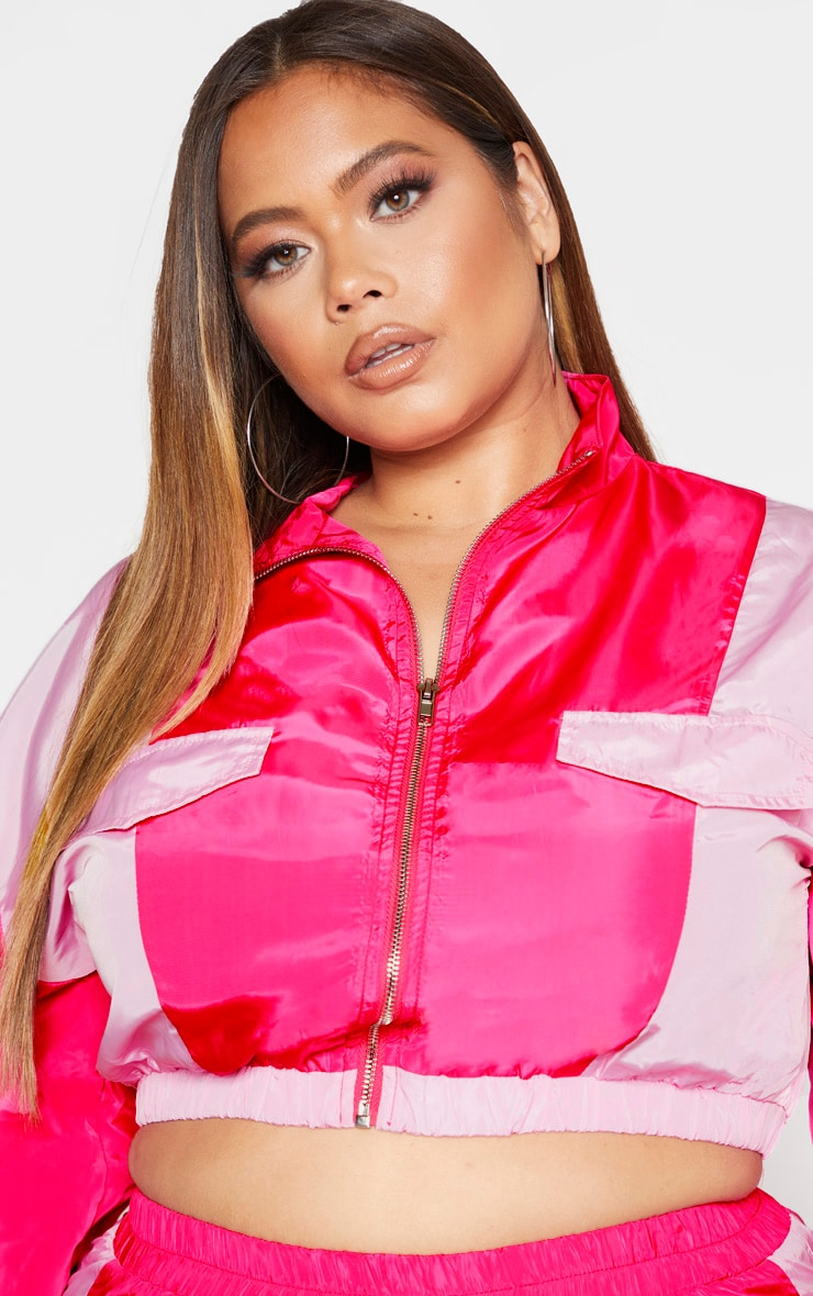 Plus Pink Zip Detail High Neck Shell Jacket 5