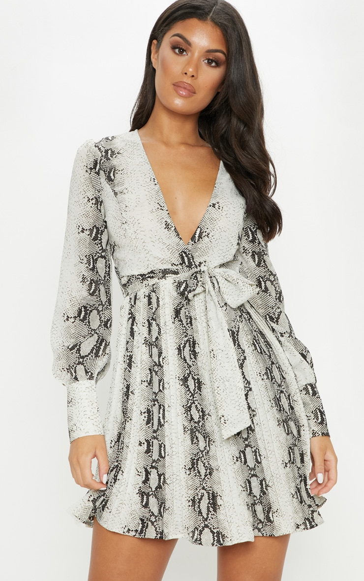 Grey Snake Print Wrap Pleated Skater Dress