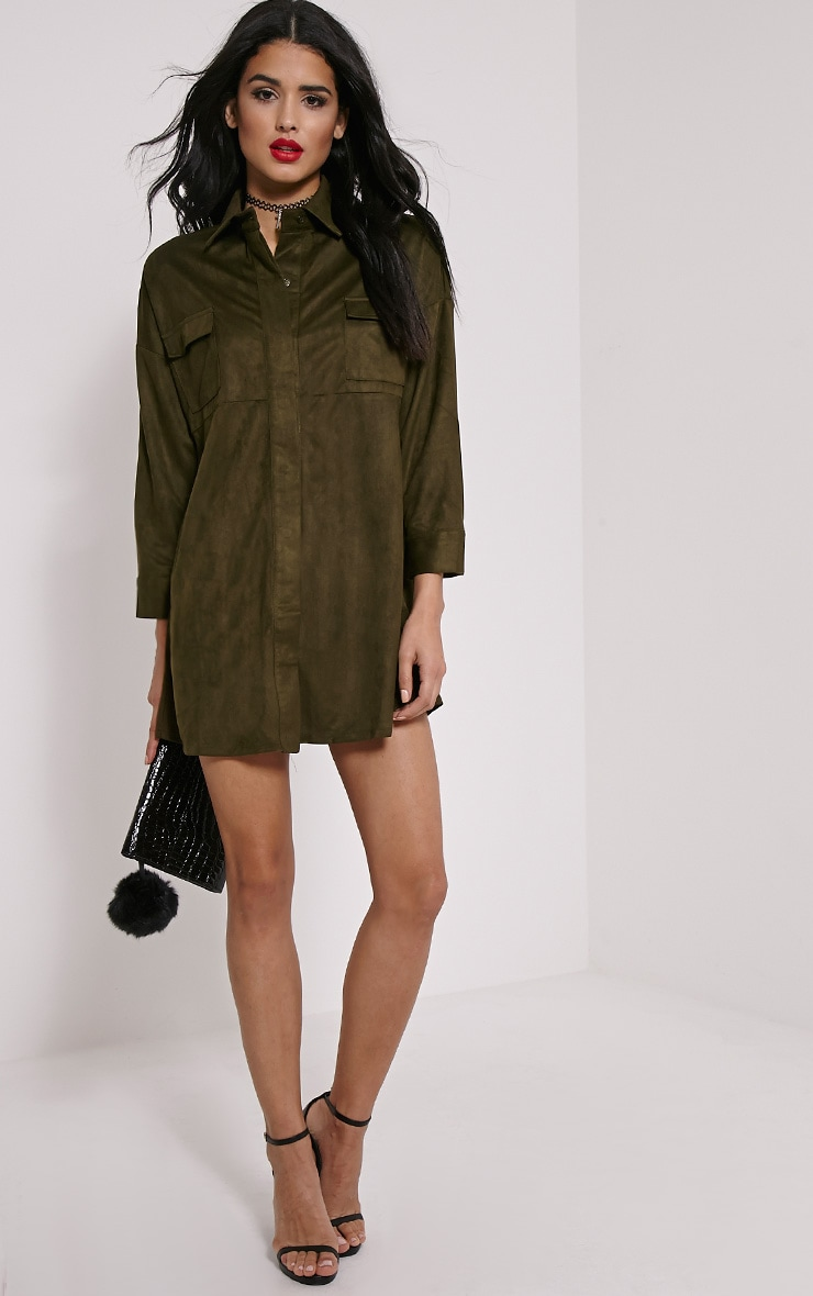Primula Khaki Faux Suede Shirt Dress 3