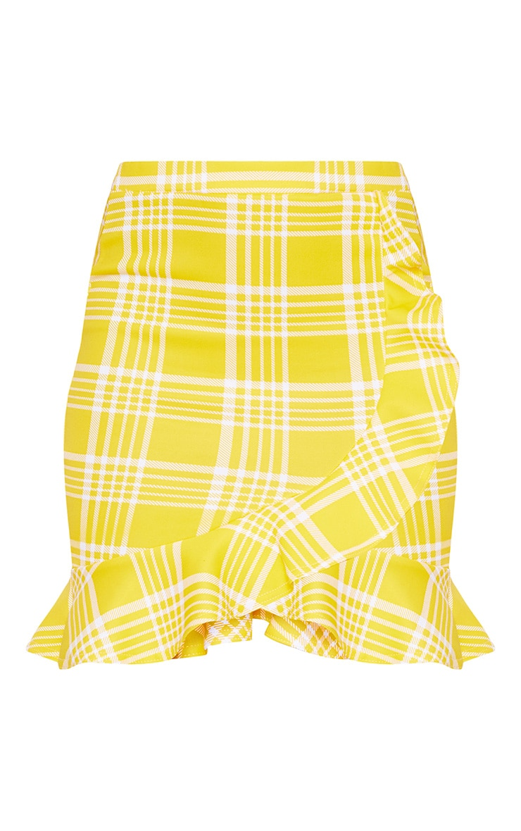 Yellow Check Print Frill Detail Mini Skirt 3