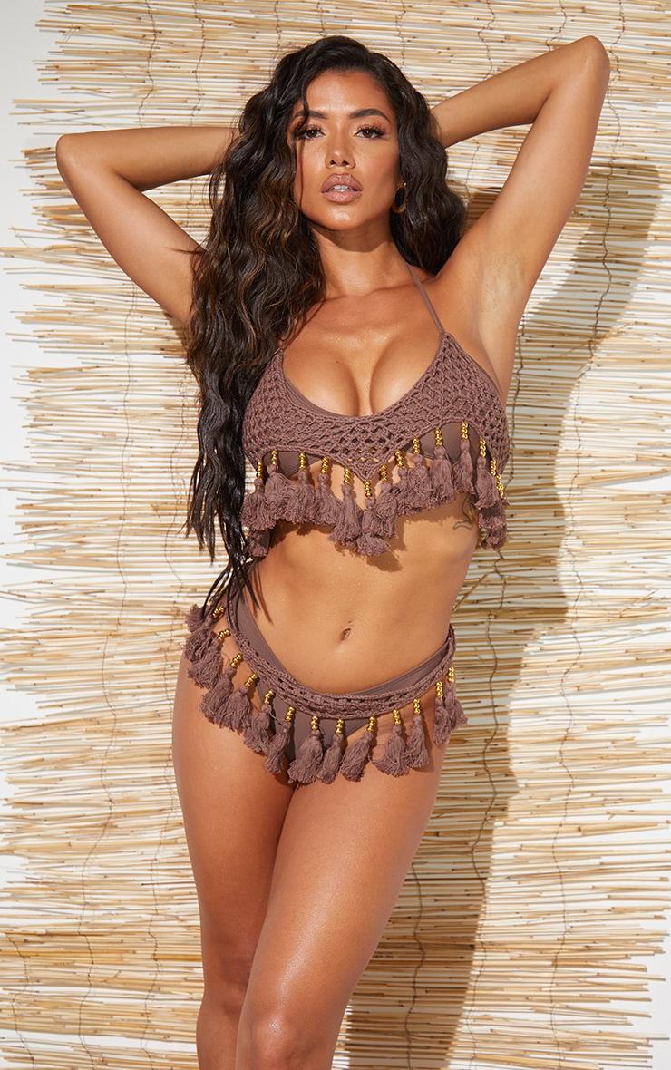 Brown Crochet Tassel Knit Bikini Top 1
