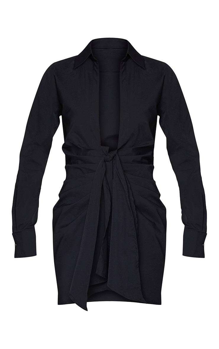 Black Plunge Drape Detail Ruched Shirt Dress 5
