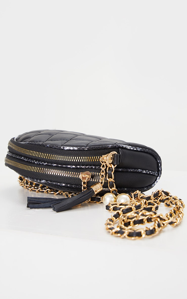 Black With Gold Chain Cross Body Bag 3