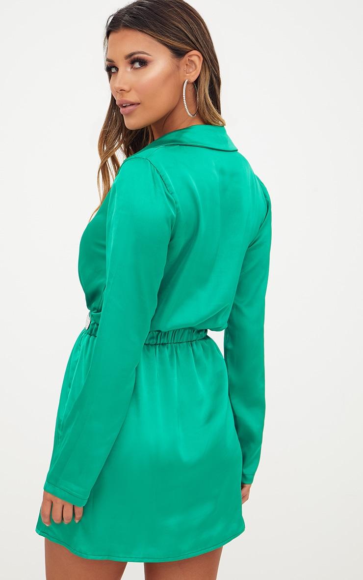 Bright Green Diamante Waist Plunge Front Shift Dress 2