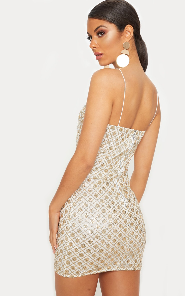 Gold Strappy Sequin Square Neck Bodycon Dress 2