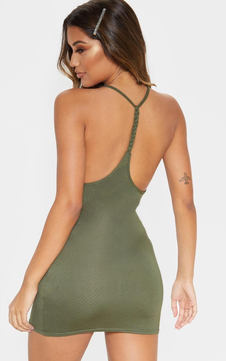 Khaki Plaited Back Bodycon Dress 1