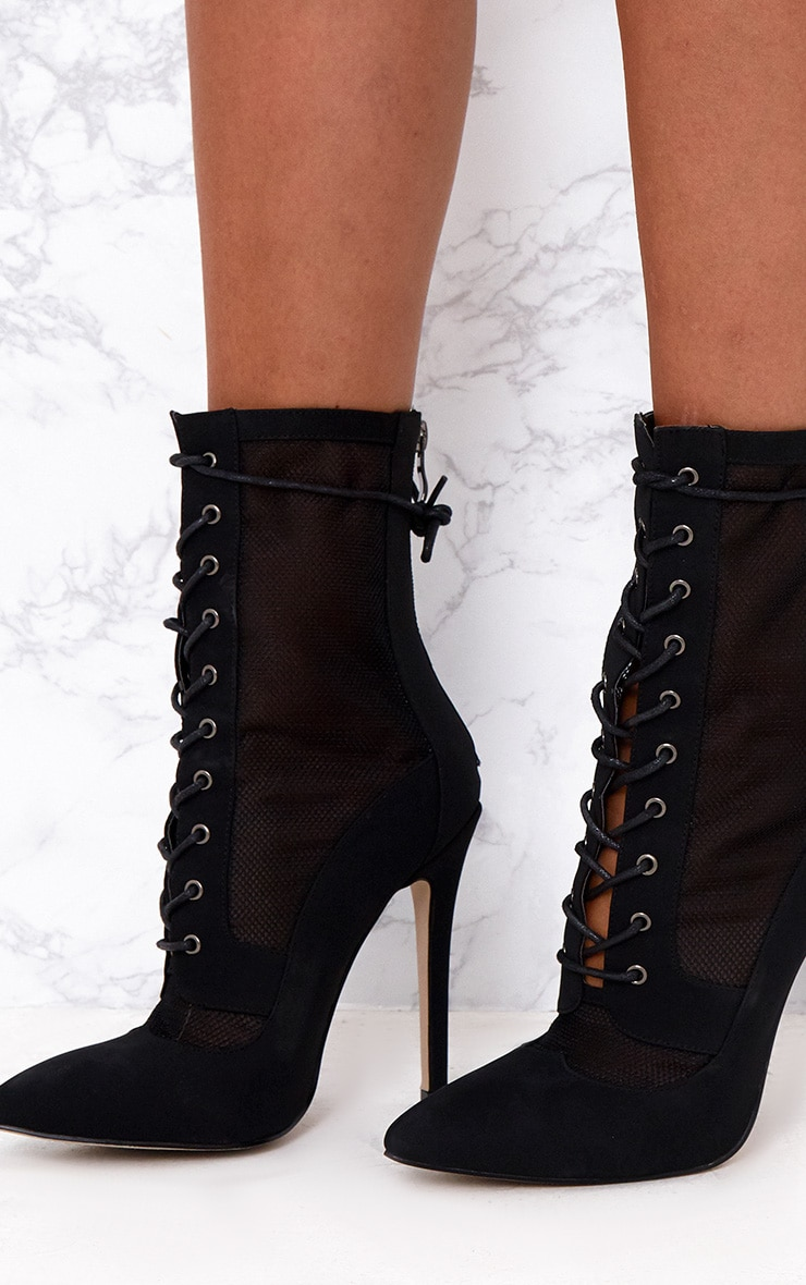 Black Mesh Insert Lace Up Boots 5