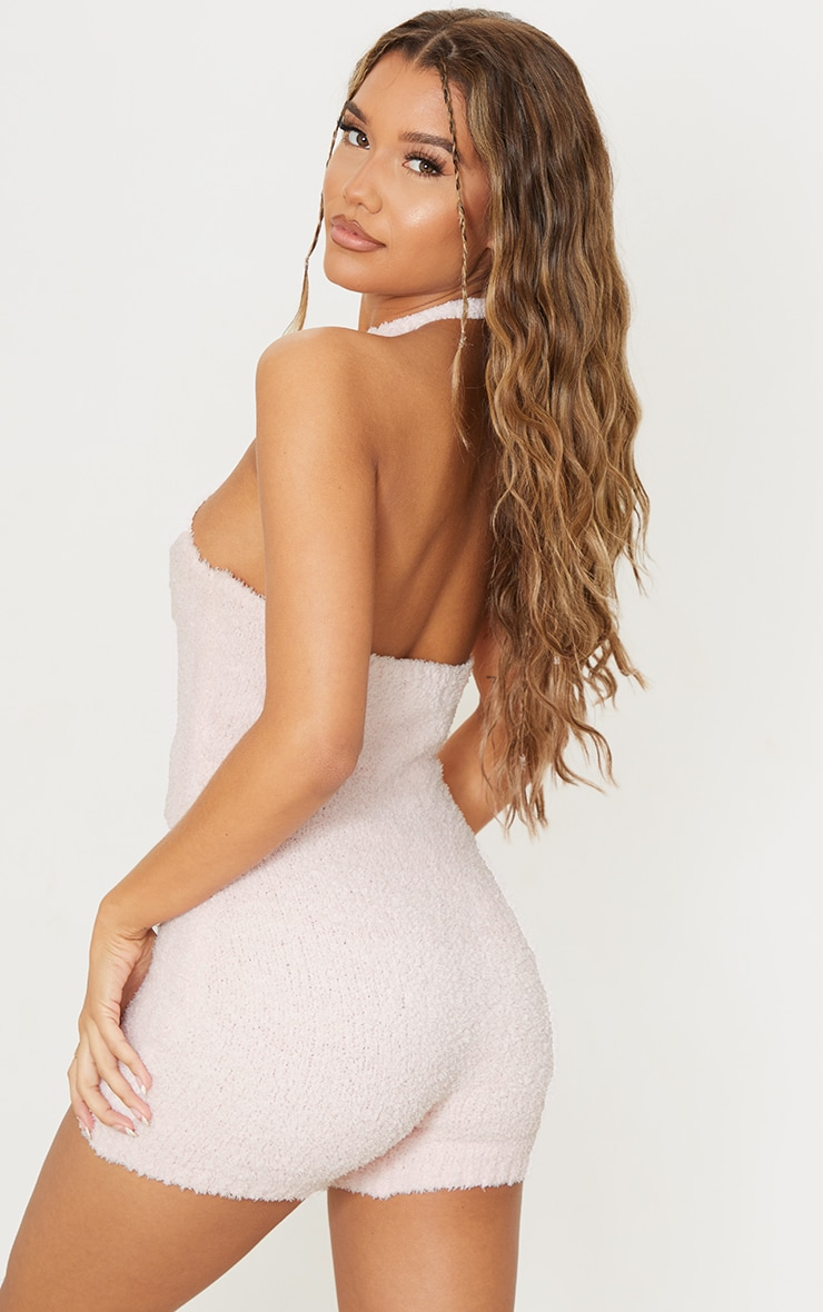 Baby Pink Premium Fluffy Cross Front Playsuit 2
