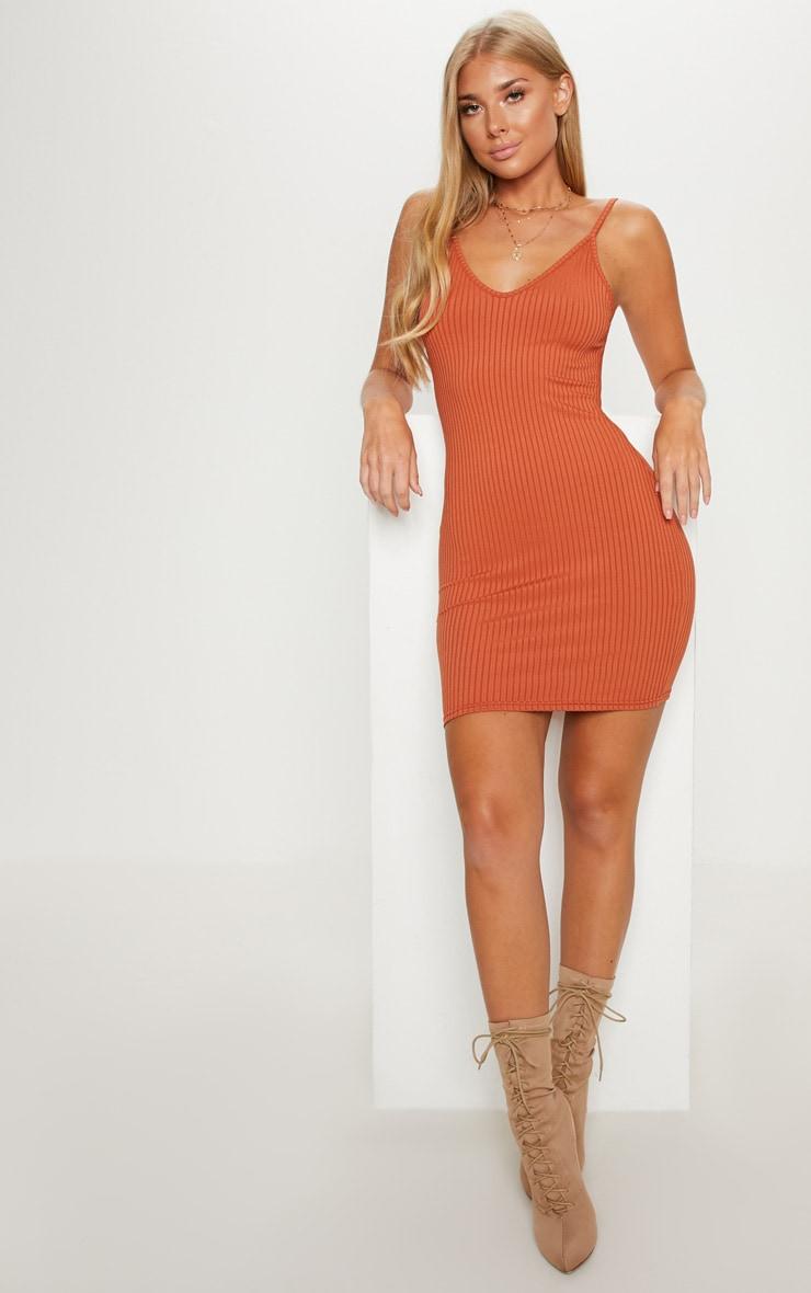 Burnt Orange Rib Plunge Strappy Bodycon Dress 4