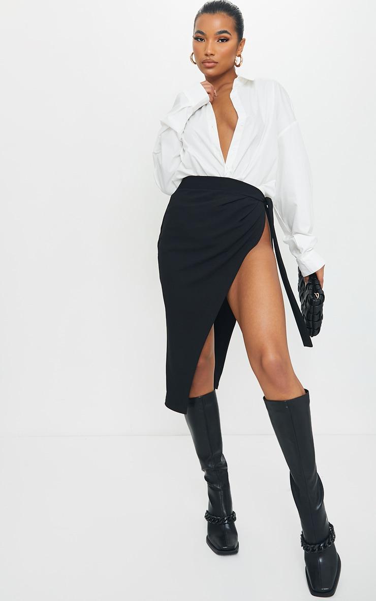 Black Wrap Tie Detail Midi Skirt 1