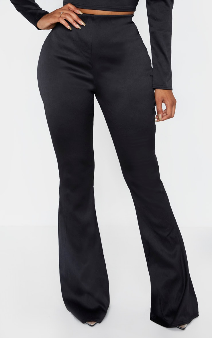 Shape Black Stretch Satin Flare Trouser 2