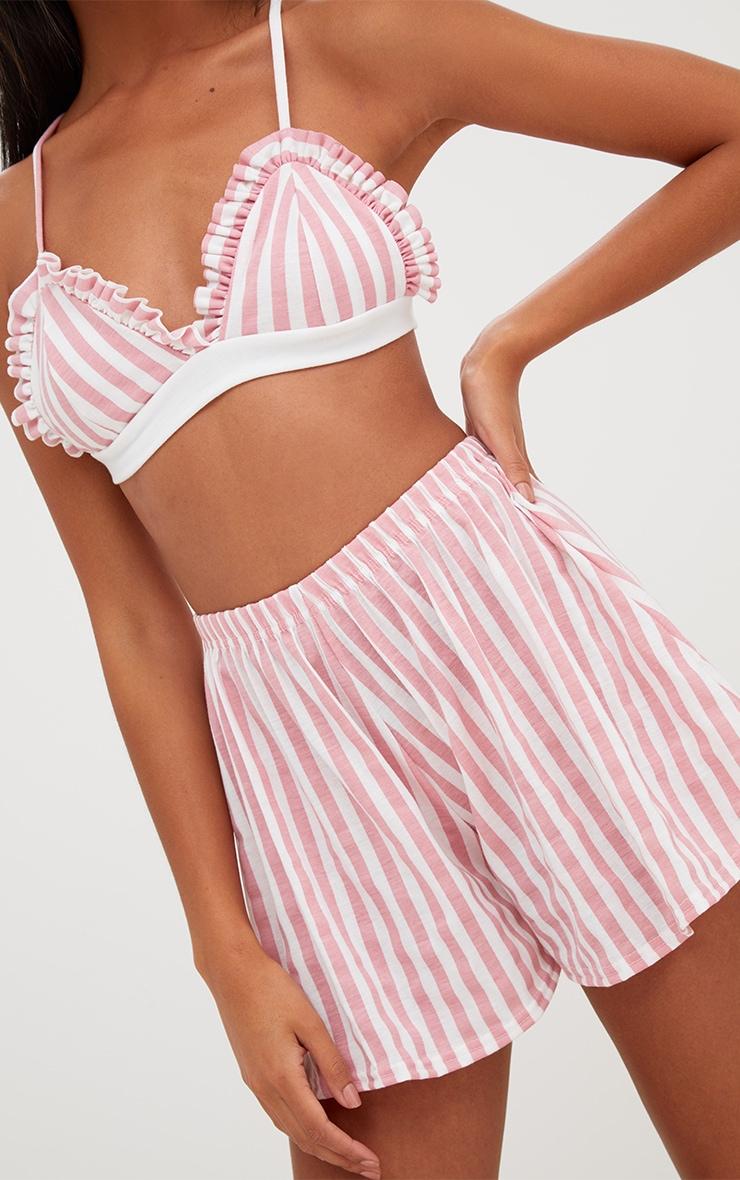 Pink Stripe Bralet And Short Set 7