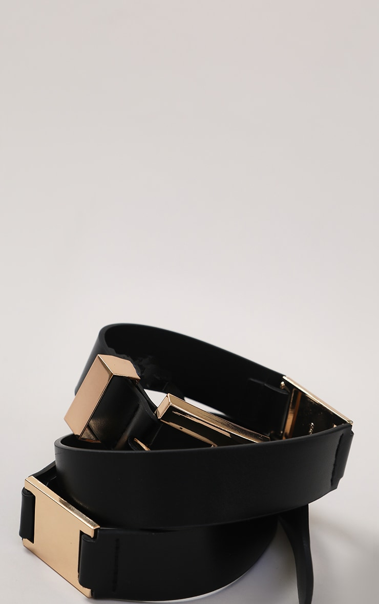 Black PU Gold Chunky Square Buckle Waist Belt 3
