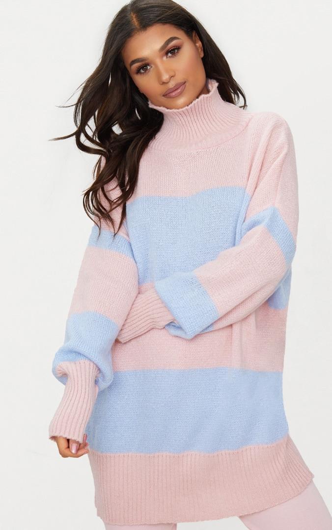 Pale Blue Stripe Oversized Knitted Jumper 4