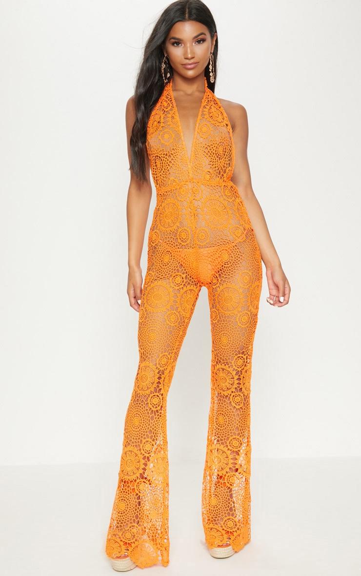 Orange Crochet Lace Halterneck Jumpsuit 1
