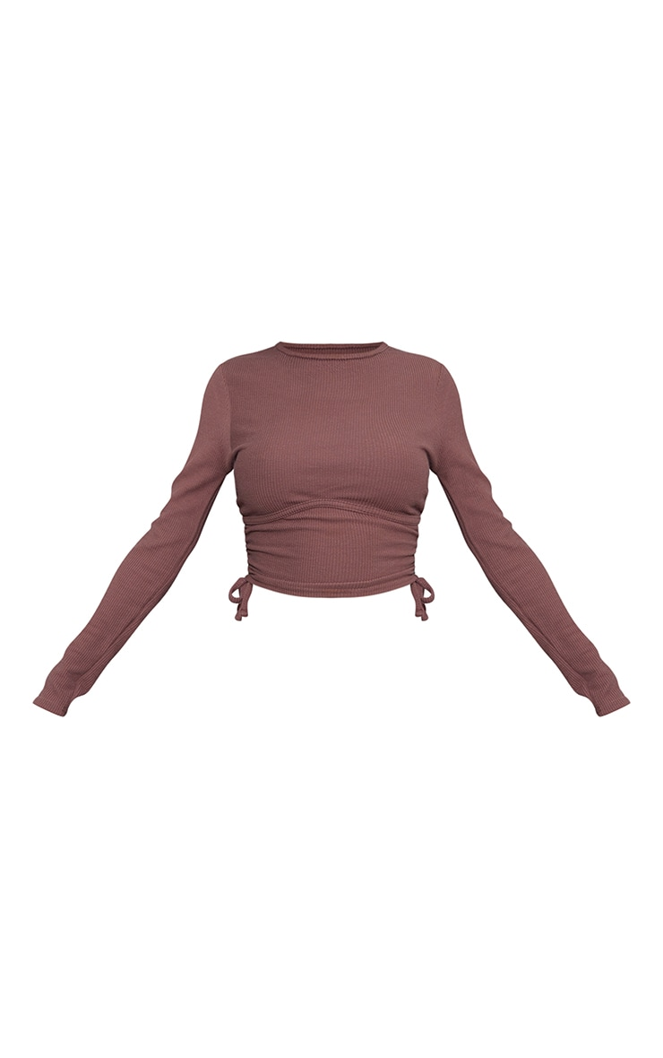 Brown Textured Rib Ruched Side Underbust Crop Top 5