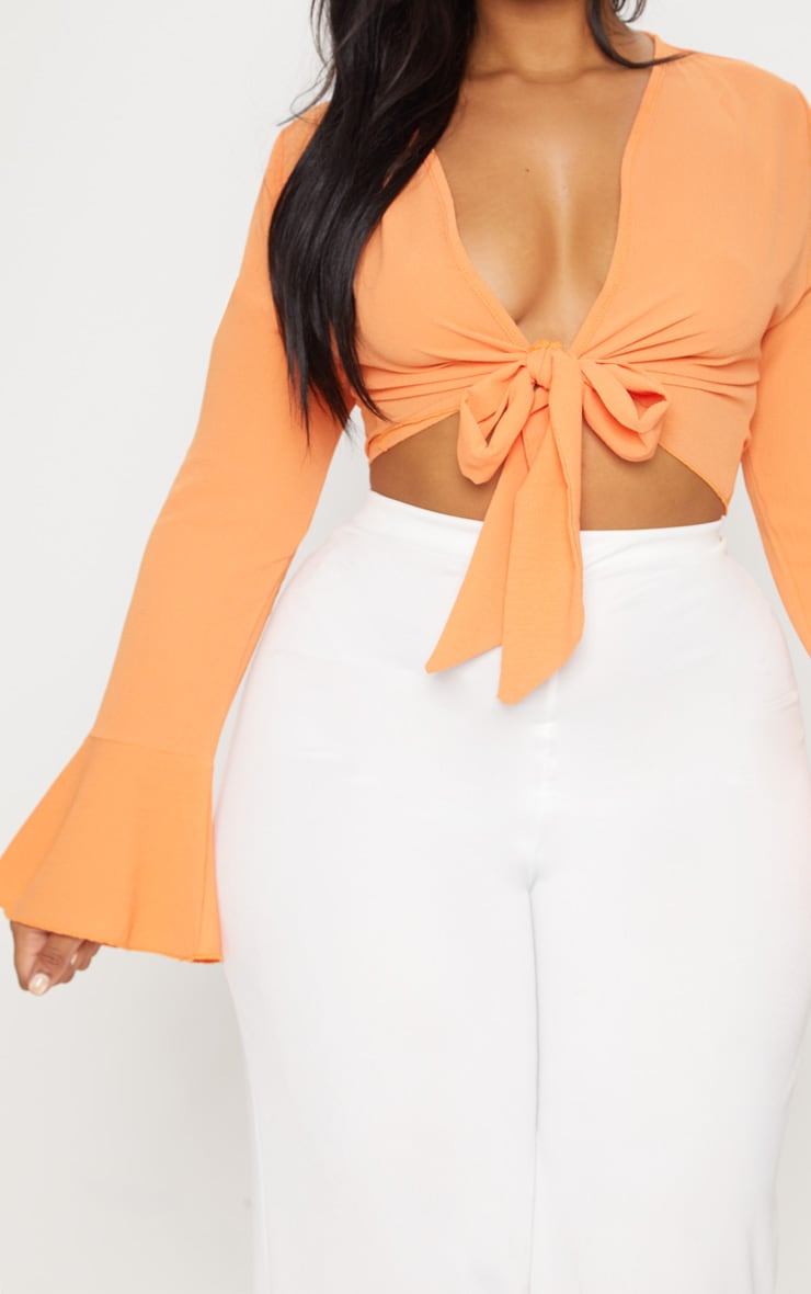 Plus Orange Tie Front Frill Sleeve Blouse 5