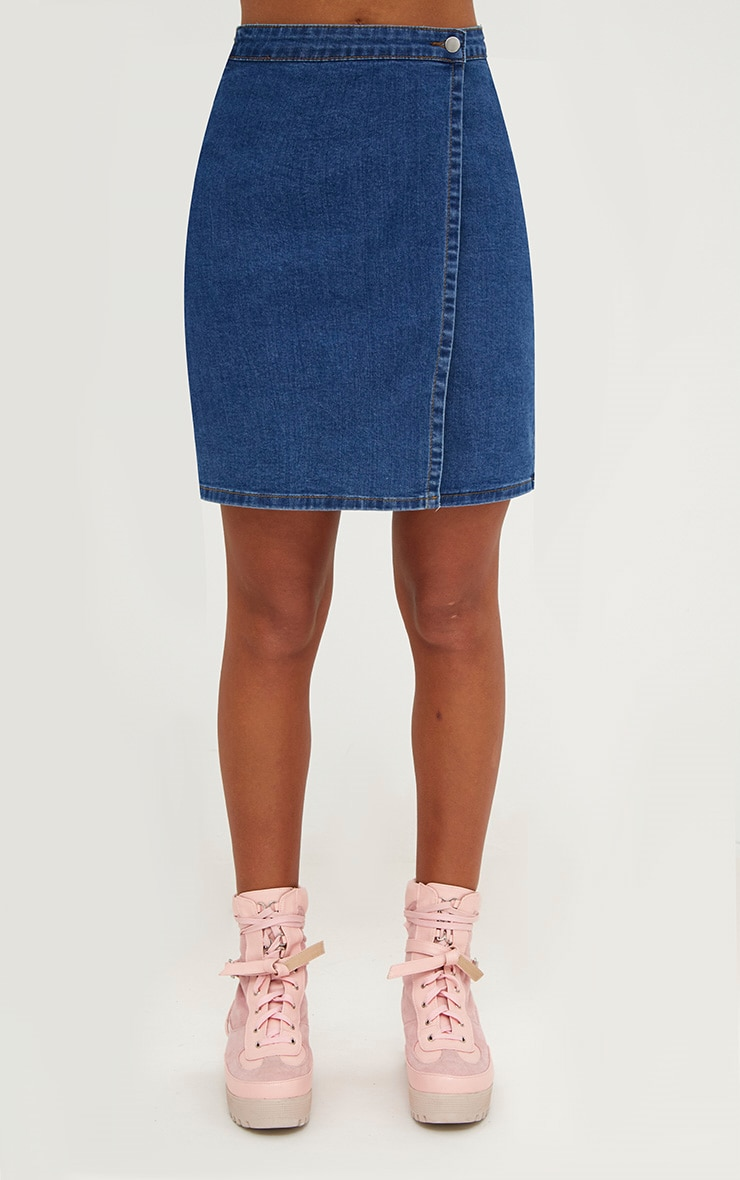 Mid Wash Denim Wrap Mini Skirt 2