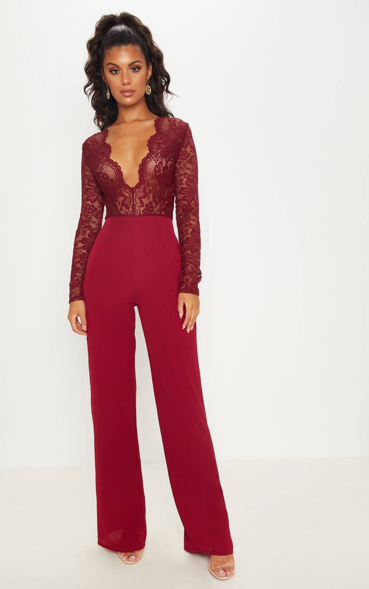 Burgundy Lace Long Sleeve Plunge Jumpsuit 1