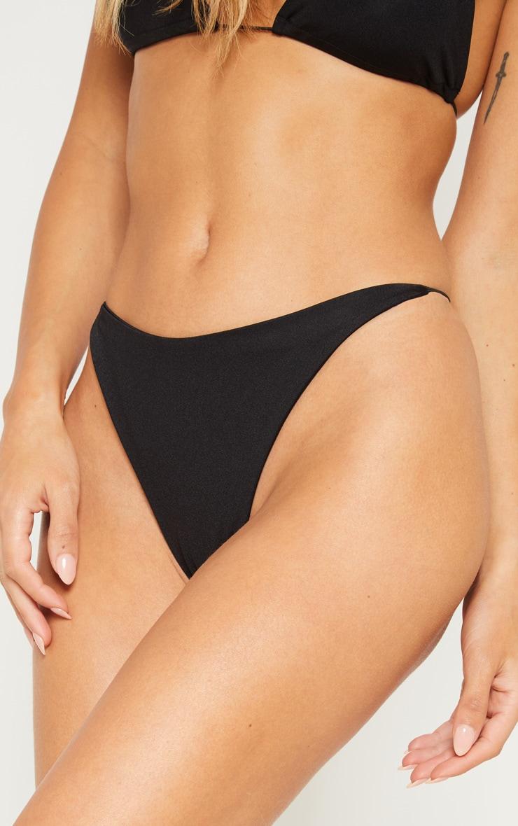 Black Minimal Elastic Bikini Bottom 6