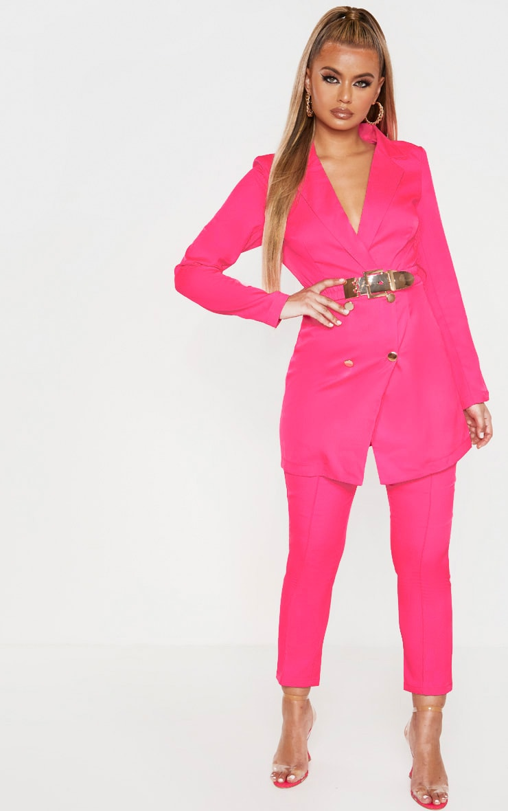 Hot Pink Double Breasted Belt Detail Blazer 4