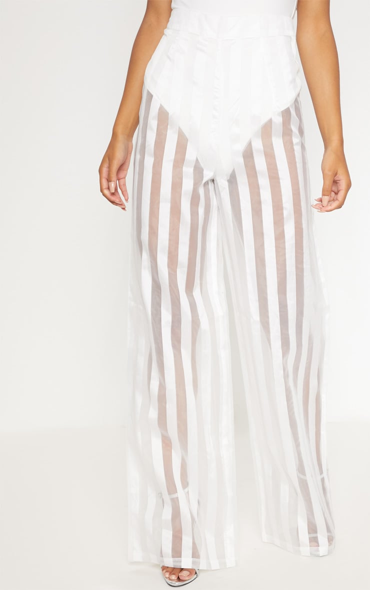 White Sheer Stripe Wide Leg trouser 2