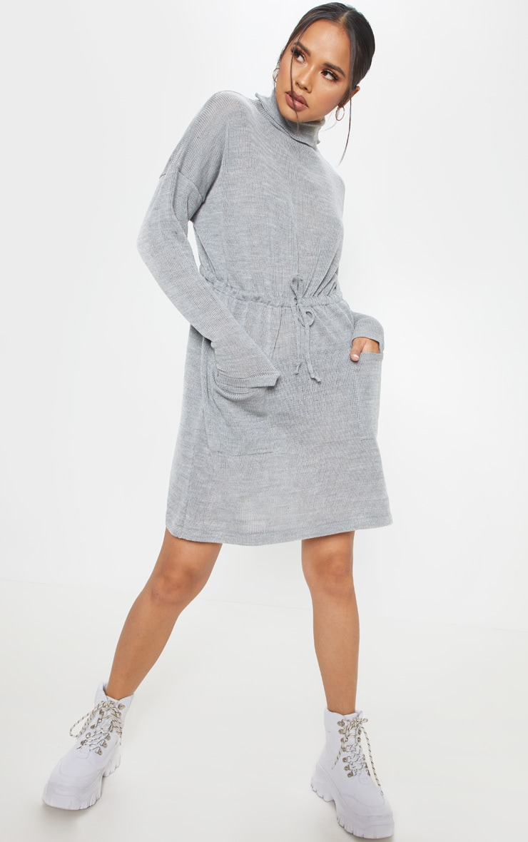 Grey Ruched Waist Knitted Dress 1