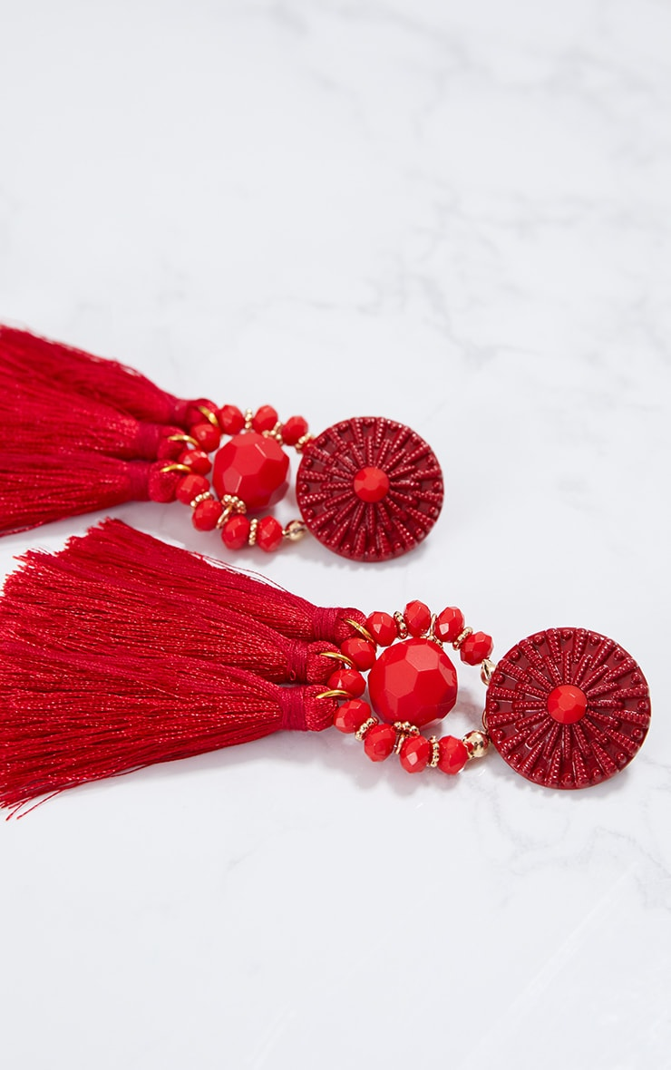 Red Acrylic Bead Tassel Earring 4