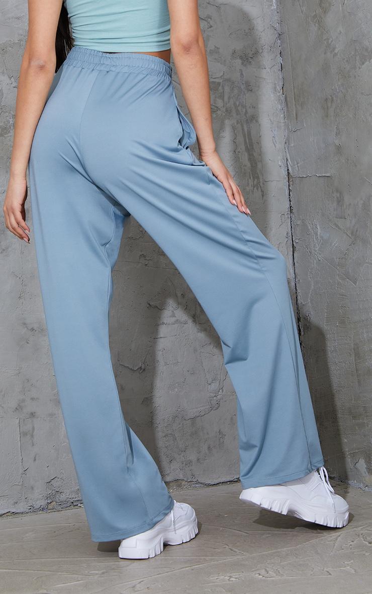 PRETTYLITTLETHING Steel Blue Stretch Scuba Wide Leg Trousers 3