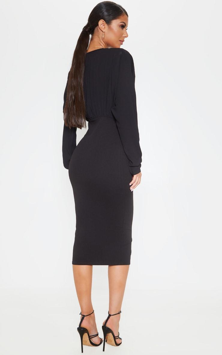 Black Batwing Ruched Bust Midi Dress 2