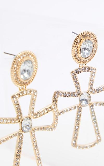 Gold Crystal Cross Earrings