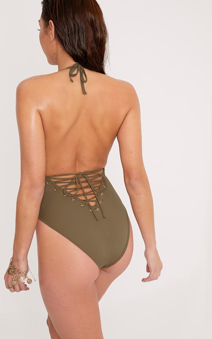 Catherine Khaki Tie Back Plunge Swimsuit 2