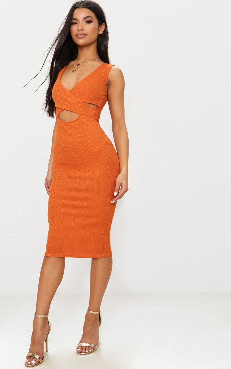 Burnt Orange Bandage Cross Over Detail Midi Dress 4