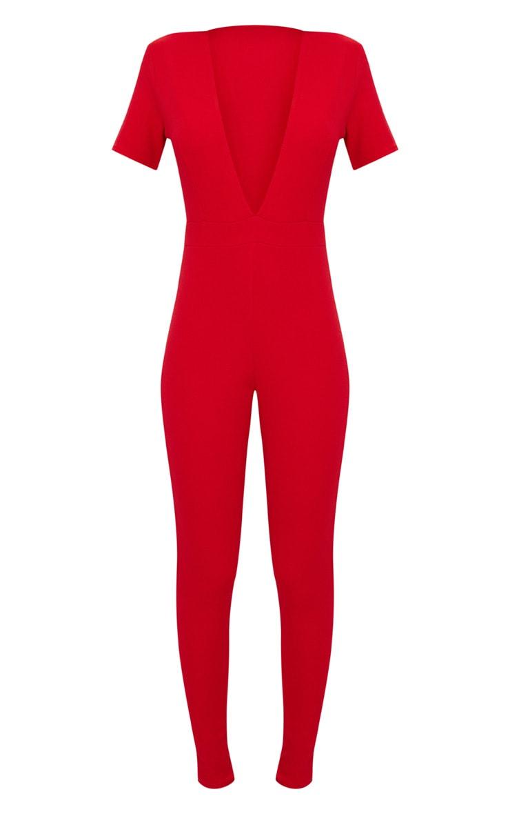 Red Short Sleeve Plunge Jumpsuit 3