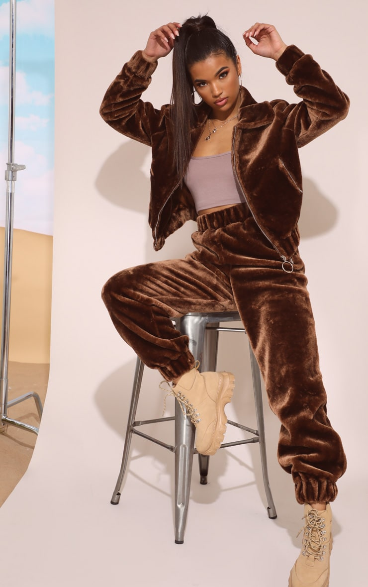 Chocolate Brown Faux Fur Jogger 2