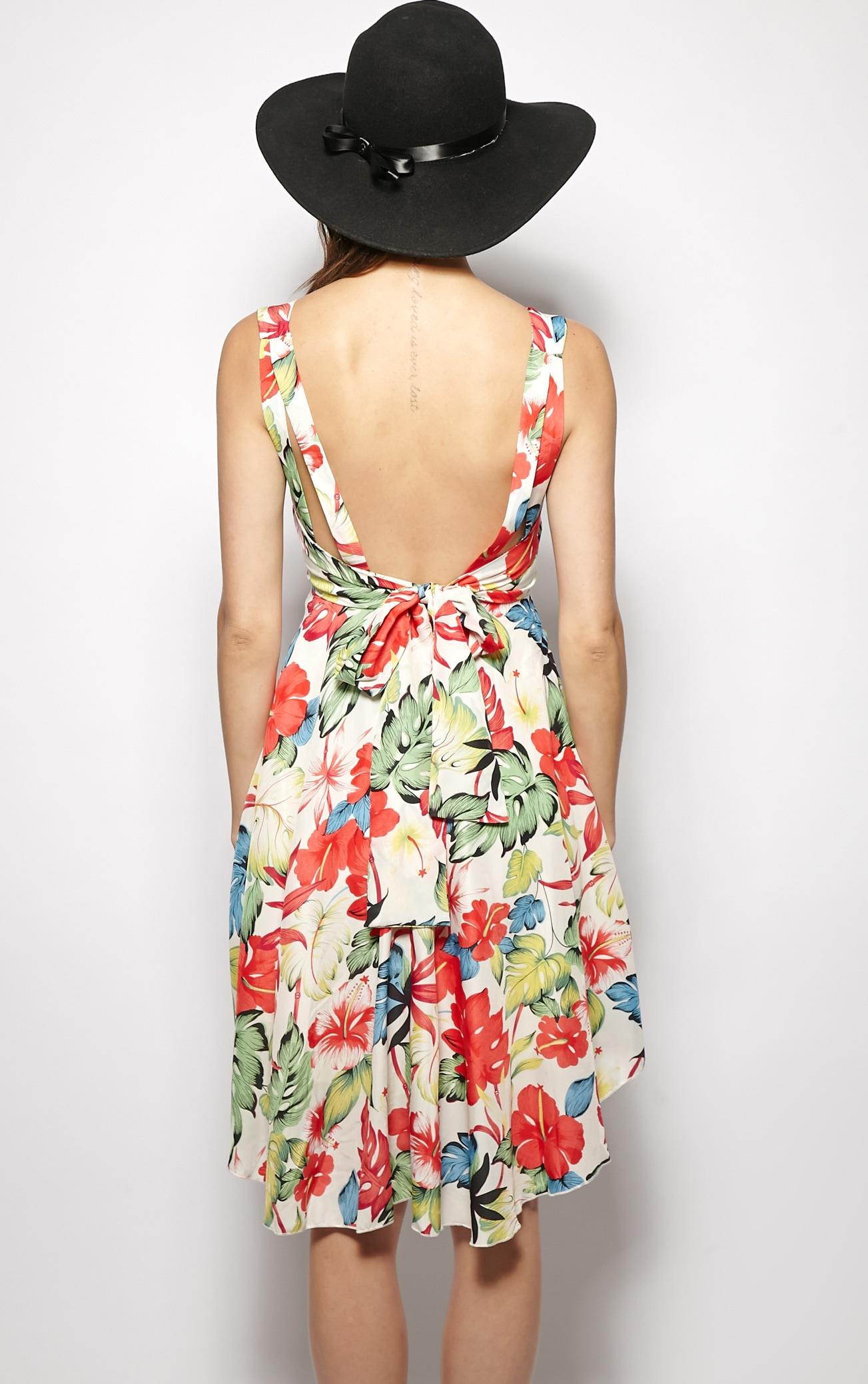 Casey Red Floral Print Full Skirt Dress 2