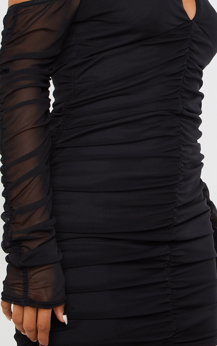 Black Halterneck Long Sleeve Mesh Ruched Bodycon Dress 4
