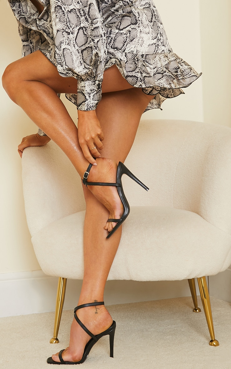 Black PU Square Toe Barely There Strappy High Heels 1