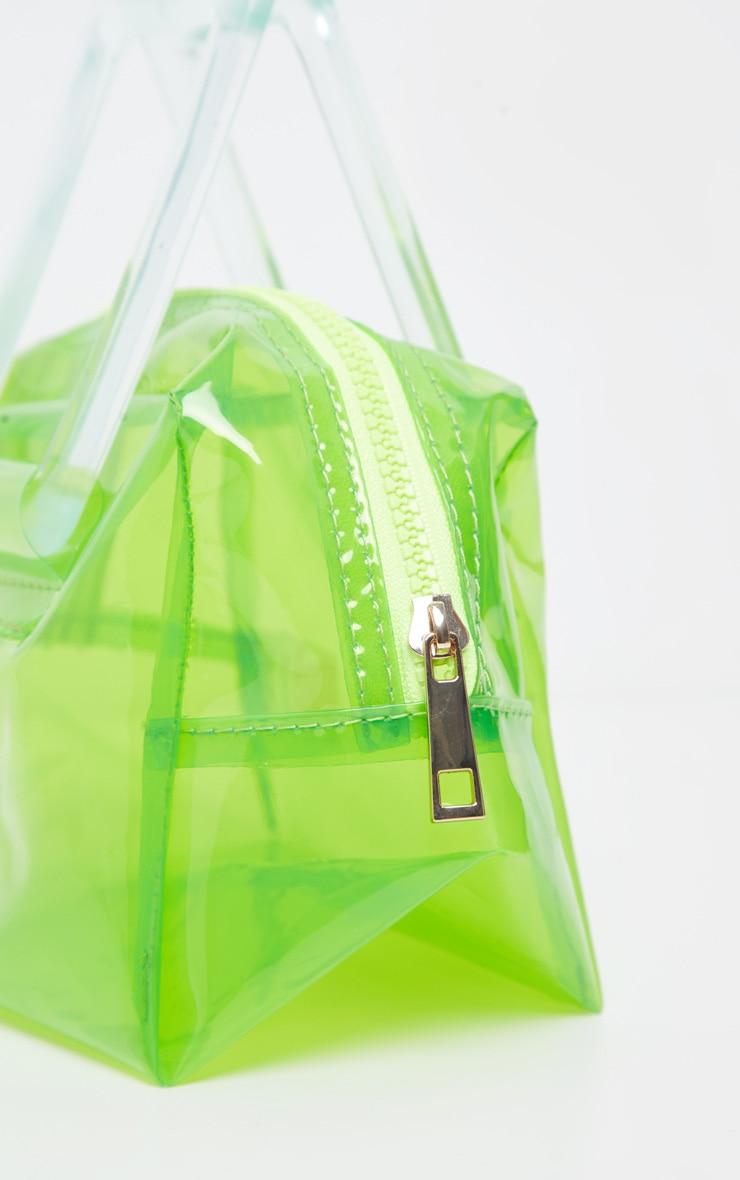 Mini-sac vert citron fluo à anse résine transparente 4
