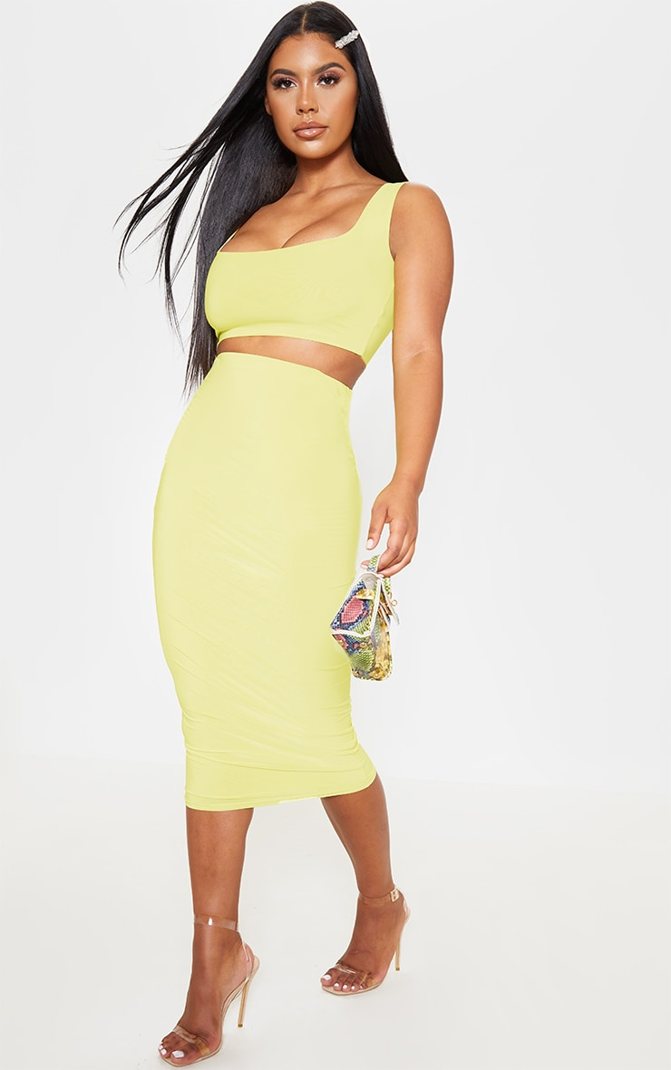 Lime Slinky Square Neck Sleeveless Crop Top 4