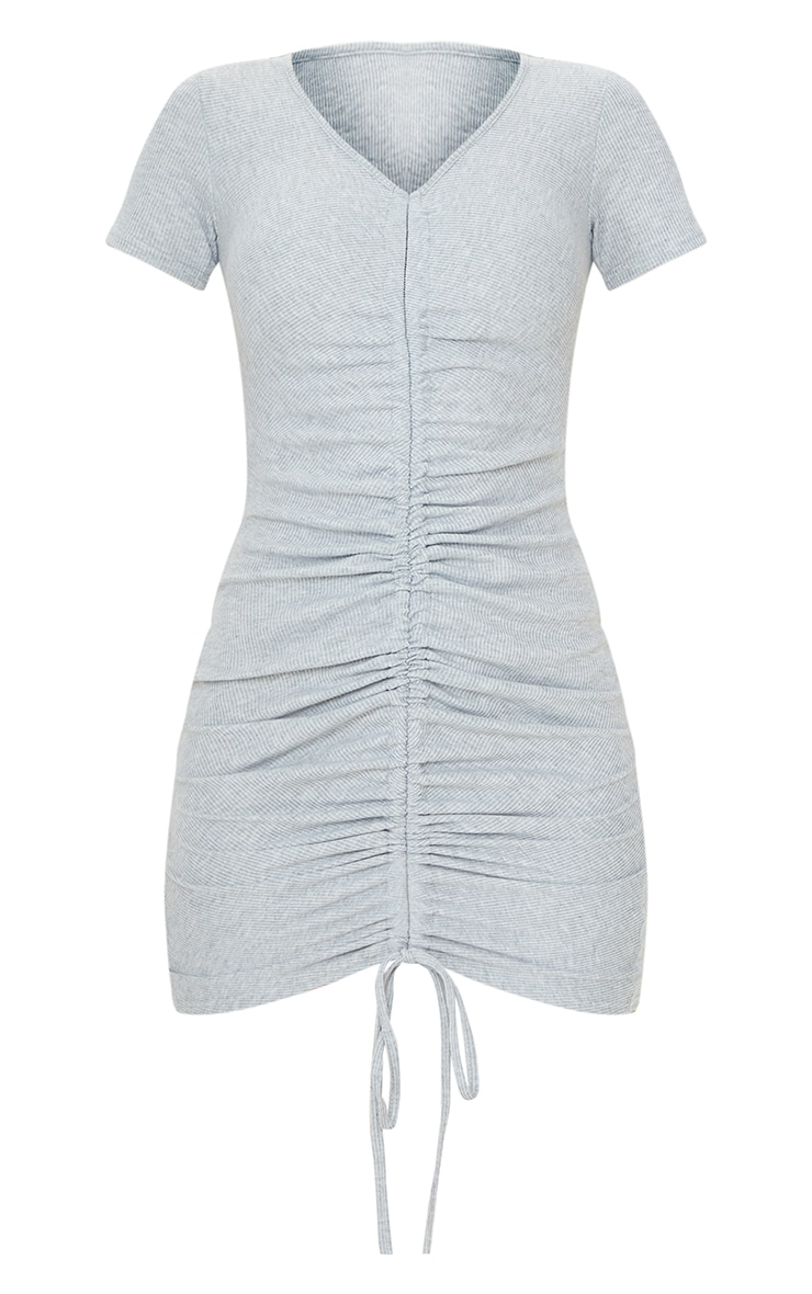 Grey Rib Ruched Front Short Sleeve Bodycon Dress 5