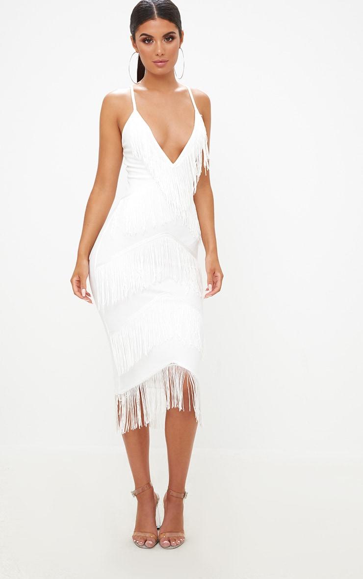 White Strappy Tassel Longline Midi Dress 4