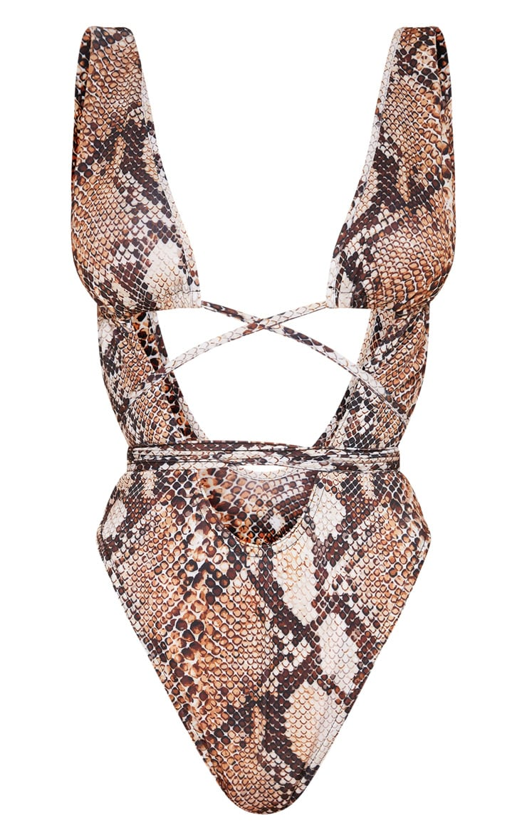 Brown Snake Cut Out Wrap Around Swimsuit 1