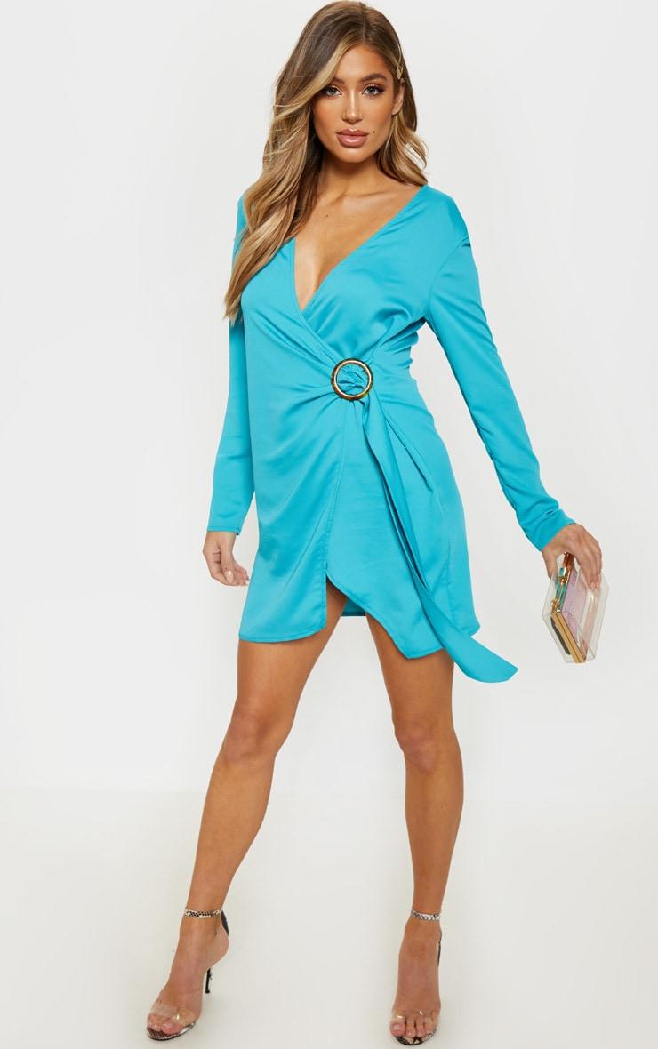 Bright Blue Shoulder Pad Buckle Detail Shift Dress 1