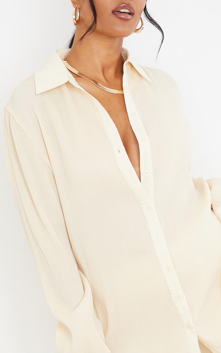 Tall  Cream Plisse Oversized Cuff Detail Shirt 4