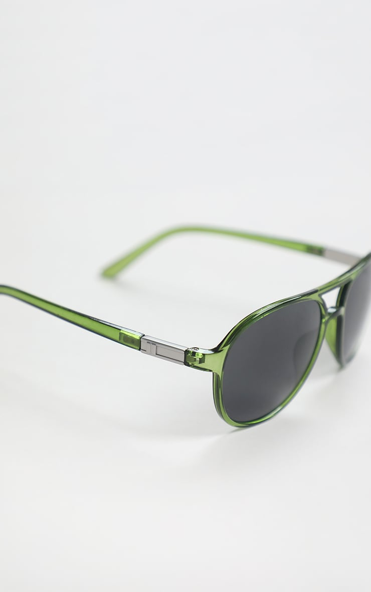 Green Double Bar Round Frame Sunglasses 4