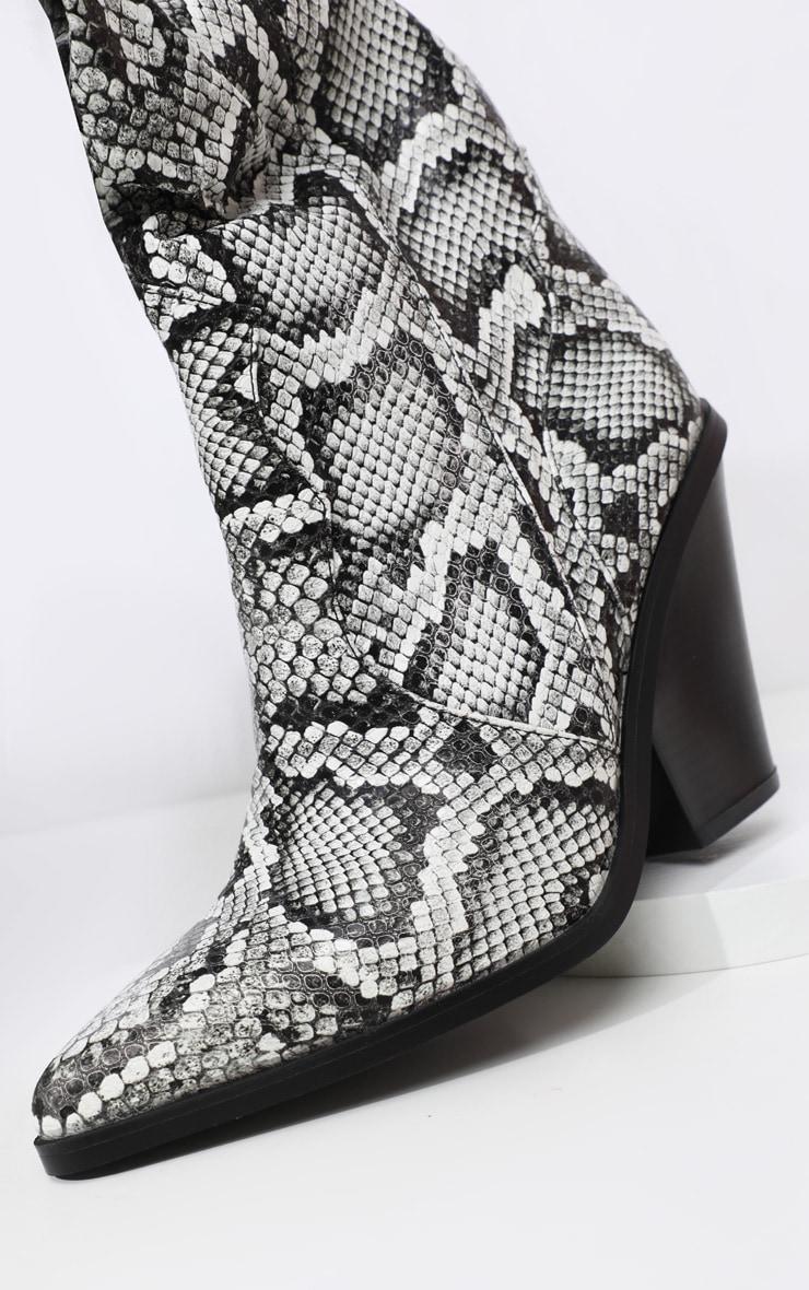 Grey Thigh High Croc Western Boot 4