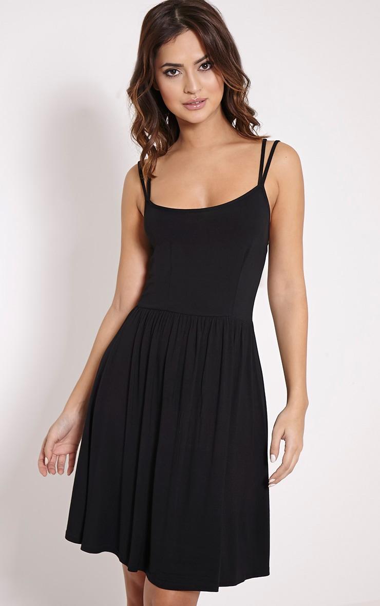 Basic robe patineuse noire à bretelles croisées dans le dos 4