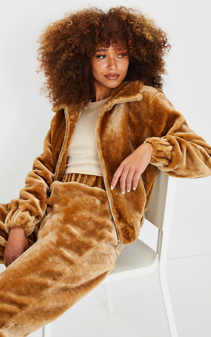 Camel Faux Fur Zip Detail Jacket 2