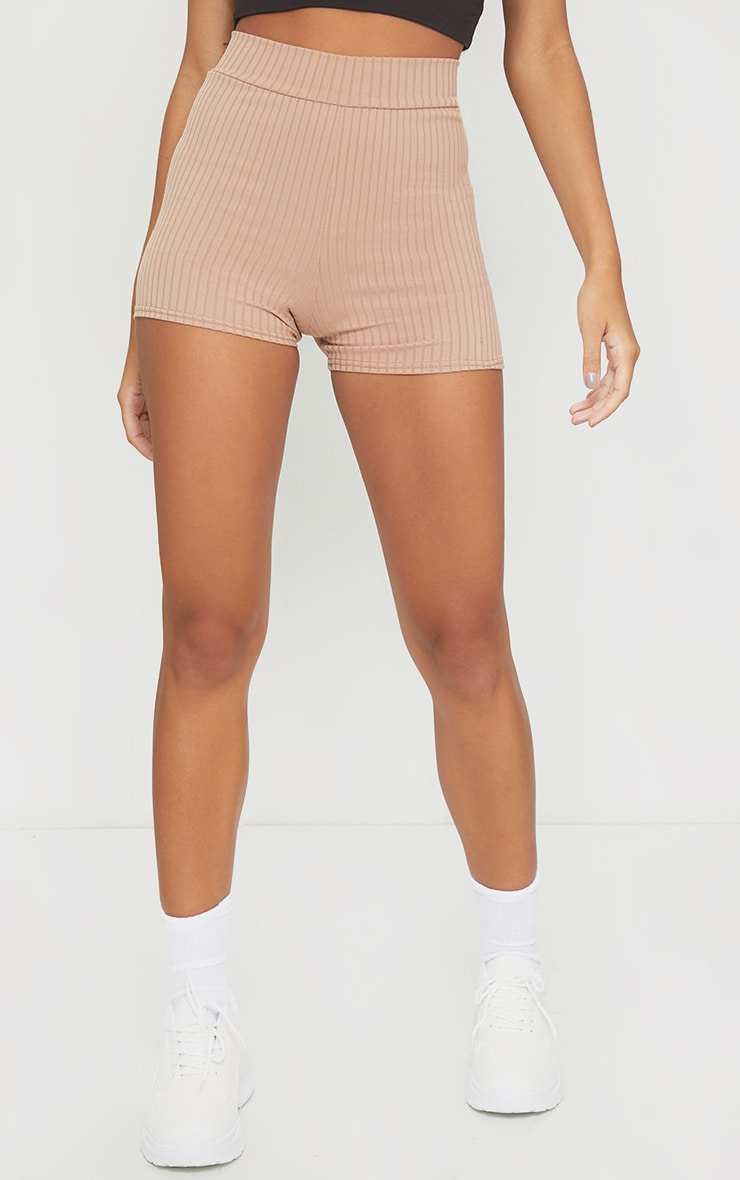 Taupe Ribbed Shorts 2
